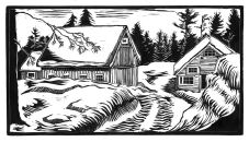 """Snowbound, Walden Hill 5 1/2"""" x 10"""" This quiet place, near the top of Walden Hill Road in Danville shows how beautiful a heavy snow covering can be."""